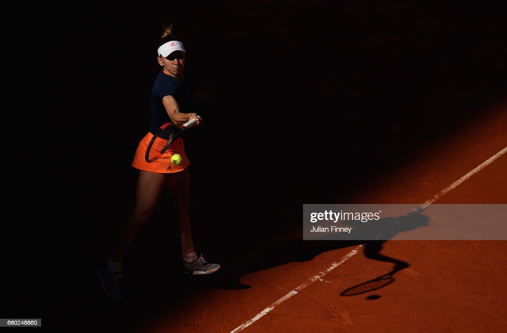 Simona Halep of Romania in action against Kristyna Pliskova of Czech Republic during day two of the Mutua Madrid Open tennis at La Caja Magica on May 7, 2017 in Madrid, Spain.