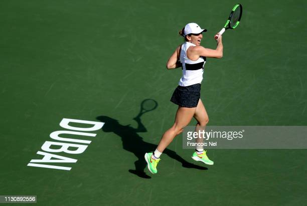 Simona Halep of Romania in action against Lesia Tsurenko of Ukraine during day four of the Dubai Duty Free Tennis Championships at Dubai Tennis...