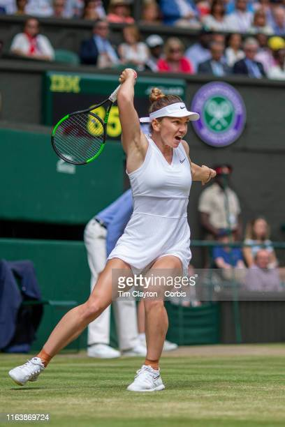 Simona Halep of Romania in action against Serena Williams of the United States during the Ladies Singles Final on Centre Court during the Wimbledon...