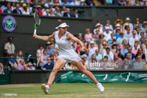 July 13: Simona Halep of Romania in action against Serena Williams of the United States during the Ladies Singles Final on Centre Court during the...