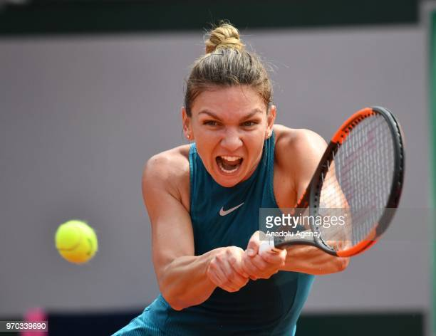 Simona Halep of Romania in action against Sloane Stephens of the USA during their final match at the French Open tennis tournament at Roland Garros...