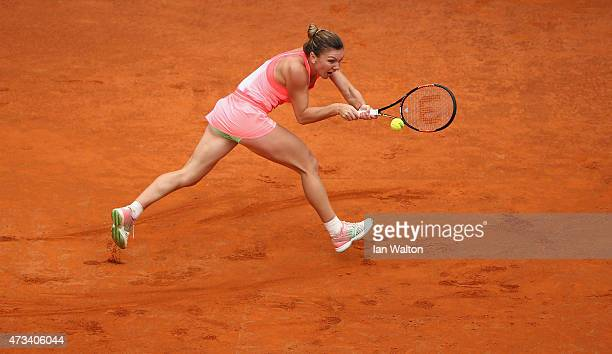 Simona Halep of Romania in action during her match against Alexandra Dulgheru of Romania on Day Six of the The Internazionali BNL d'Italia 2015 on...