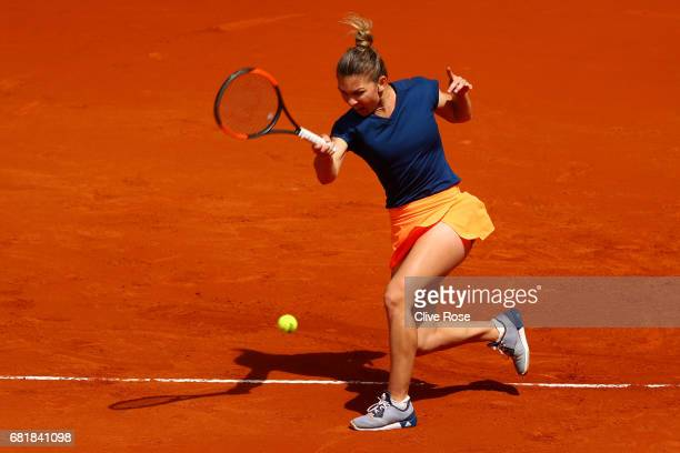 Simona Halep of Romania in action during her match against CoCo Vandeweghe of USA on day six of the Mutua Madrid Open tennis at La Caja Magica on May...