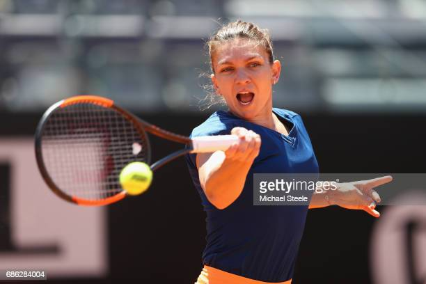 Simona Halep of Romania in action during the women's final against Elina Svitolina of Ukraine on Day Eight of the Internazionali BNL d'Italia 2017 at...