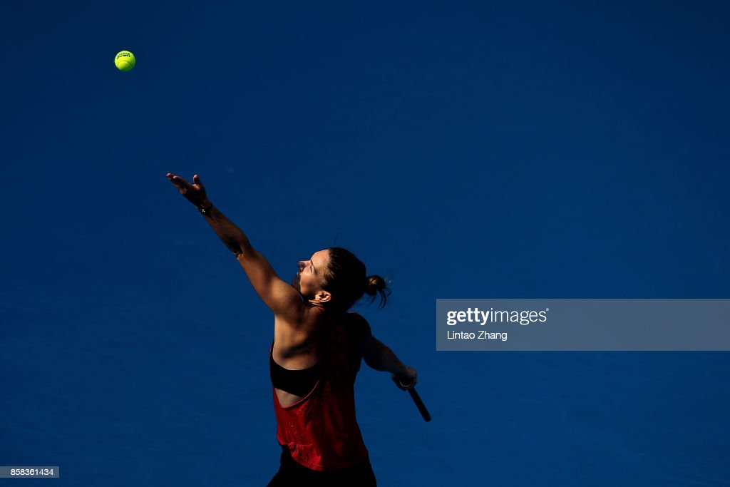 Simona Halep of Romania in action during the Women's singles Quarterfinals match against Daria Kasatkina of Russia on day seven of 2017 China Open at the China National Tennis Centre on October 6, 2017 in Beijing, China.