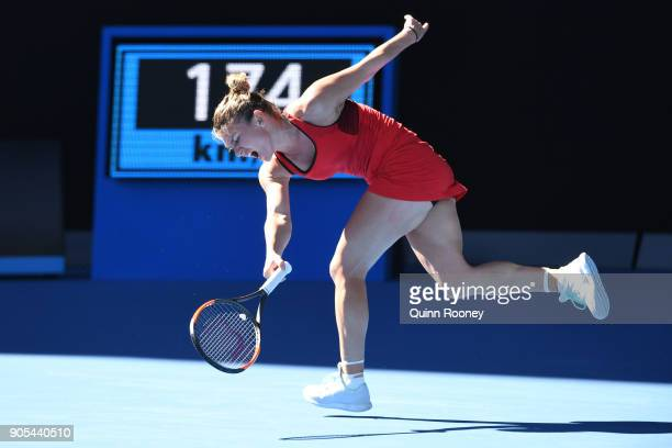 Simona Halep of Romania injures her ankle in her first round match against Destanee Aiava of Australia on day two of the 2018 Australian Open at...