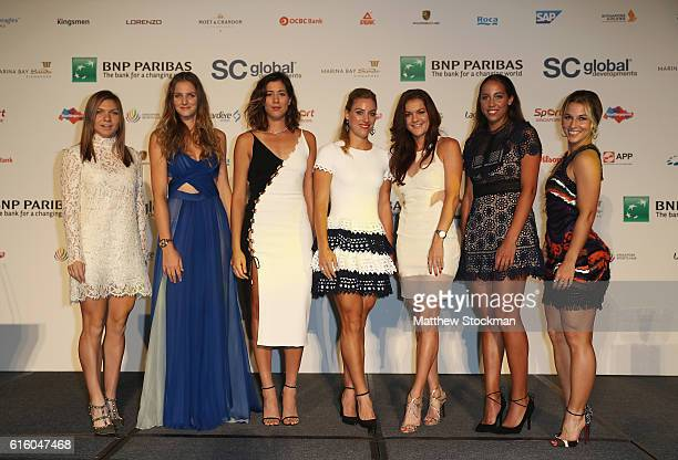 Simona Halep of Romania Karolina Pliskova of Czech Republic Garbine Muguruza of Spain Angelique Kerber of Germany Agnieszka Radwanska of Poland...