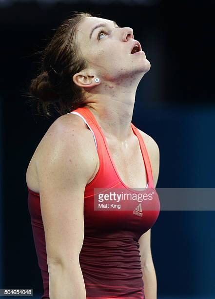 Simona Halep of Romania looks dejected after losing a point in her match against Caroline Garcia of France during day three of the 2016 Sydney...