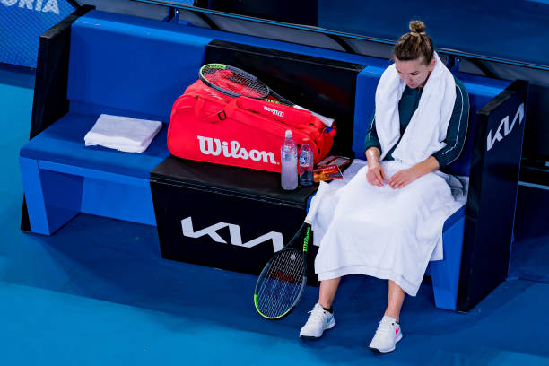 Simona Halep of Romania looks dejected in her match against Ekaterina Alexandrova of Russia during day six of the WTA 500 Gippsland Trophy at...