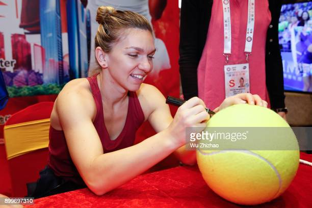 Simona Halep of Romania meets fans ahead of the 2018 WTA Shenzhen Open on December 30 2017 in Shenzhen China