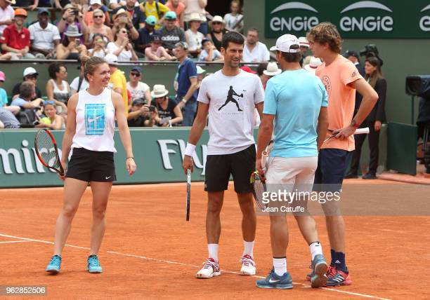 Simona Halep of Romania Novak Djokovic of Serbia Rafael Nadal of Spain Alexander Zverev of Germany during Kid's Day of the 2018 French Open at Roland...