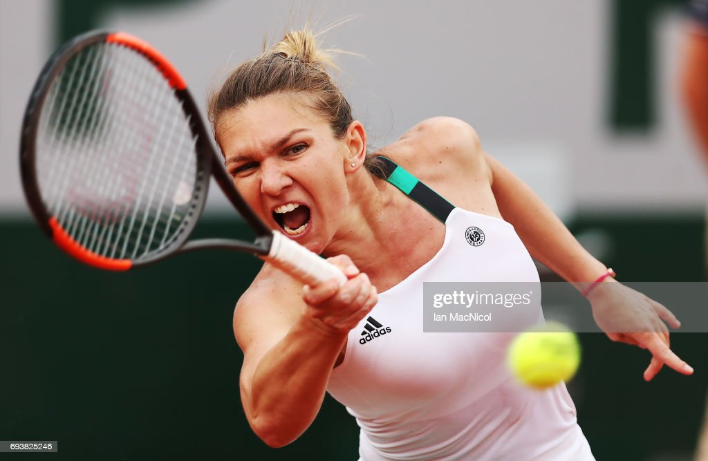 Simona Halep of Romania palys a forehand shot during her match with Karolina Pliskova of Czech Republic, during day twelve at Roland Garros on June 8, 2017 in Paris, France.