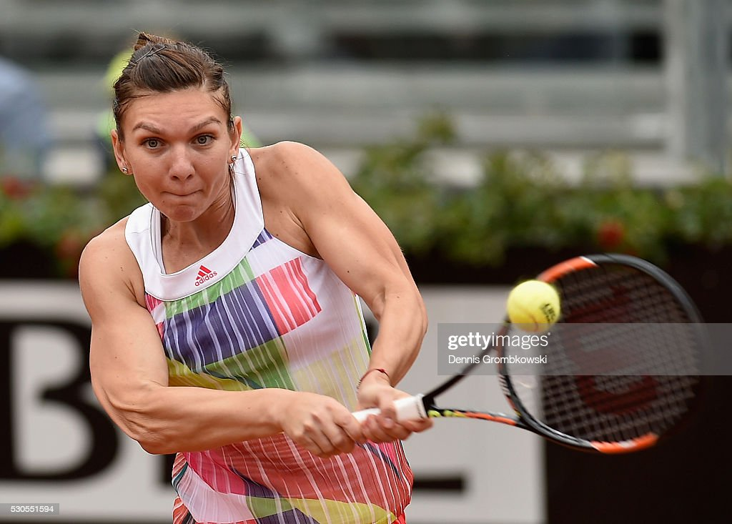 Simona Halep of Romania plays a backhand in her match against Daria Gavrilova of Australia on Day Four of The Internazionali BNL d'Italia on May 11, 2016 in Rome, Italy.