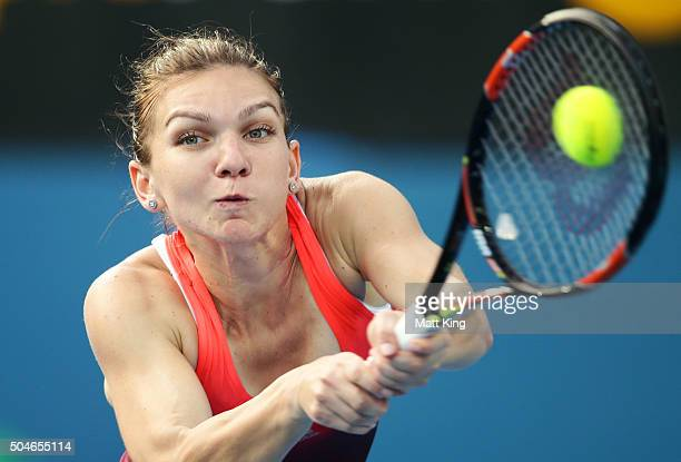 Simona Halep of Romania plays a backhand in her match against Caroline Garcia of France during day three of the 2016 Sydney International at Sydney...