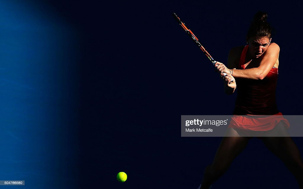 Simona Halep of Romania plays a backhand in her match against Karolina Pliskova of the Czech Republic during day four of the Sydney International at Sydney Olympic Park Tennis Centre on January 13, 2016 in Sydney, Australia.