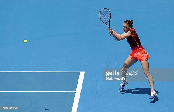 Simona Halep of Romania plays a backhand in her semi final match against Svetlana Kuznetsova of Russia during day six of the 2016 Sydney...