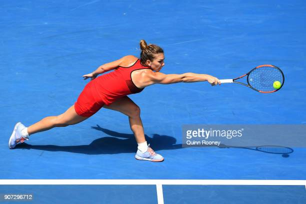 Simona Halep of Romania plays a backhand in her third round match against Lauren Davis of the United States on day six of the 2018 Australian Open at...