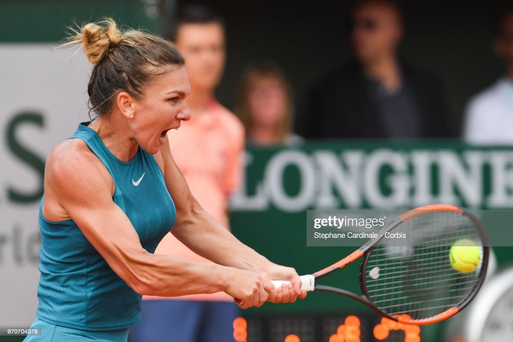 Simona Halep of Romania plays a backhand to Sloane Stephens of the United States in the final of the women's singles at Roland Garros on June 9, 2018 in Paris, France.