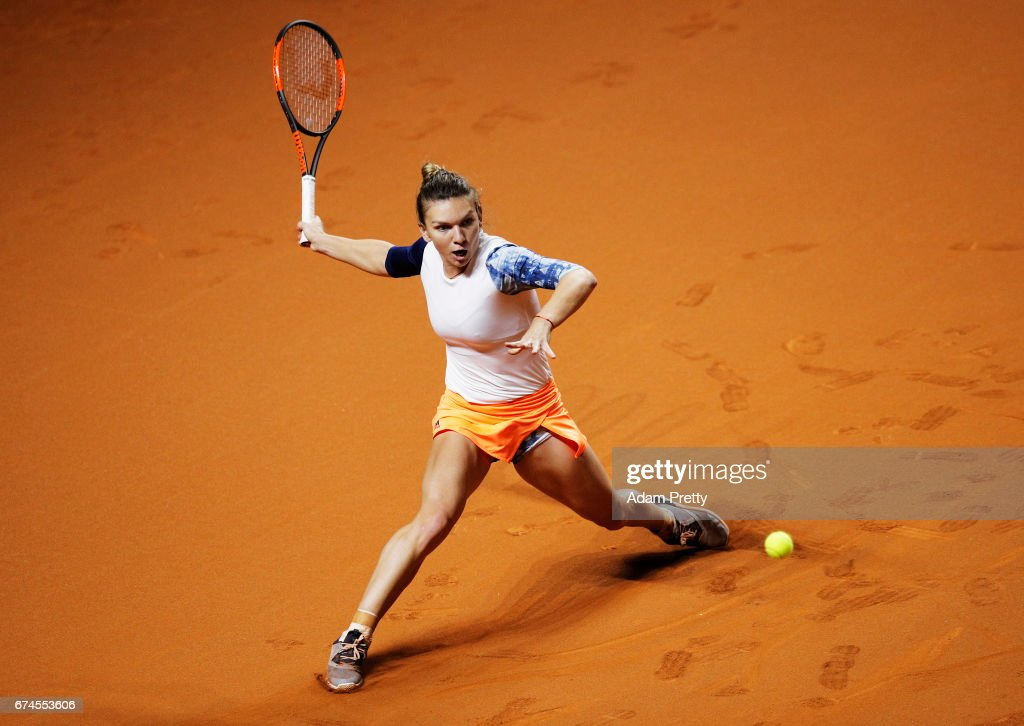 Simona Halep of Romania plays a forehand during her match against Anastasija Sevastova of Latvia during the Porsche Tennis Grand Prix at Porsche Arena on April 28, 2017 in Stuttgart, Germany.