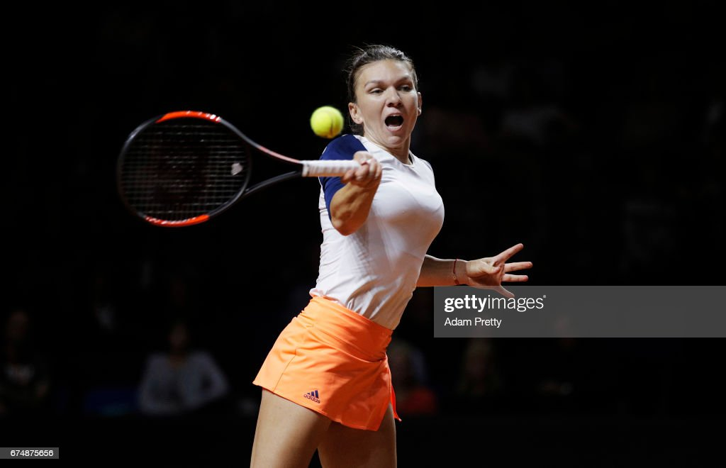 Simona Halep of Romania plays a forehand during her match against Laura Siegemund of Germany during the Porsche Tennis Grand Prix at Porsche Arena on April 29, 2017 in Stuttgart, Germany.