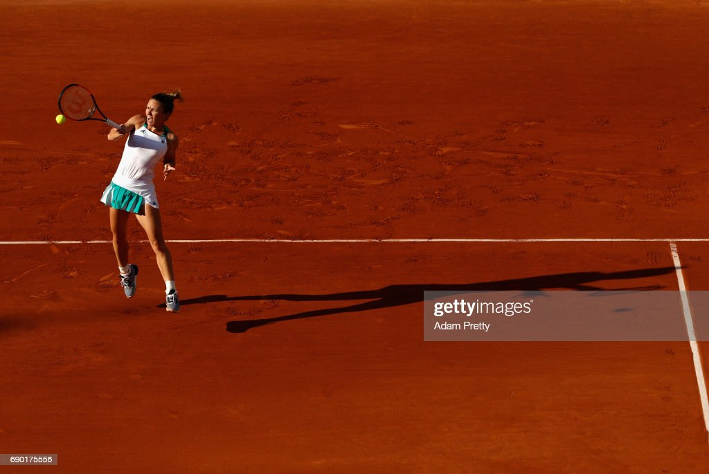 Simona Halep of Romania plays a forehand during the ladies singles first round match against Jana Ceepelova of Slovakia on day three of the 2017 French Open at Roland Garros on May 30, 2017 in Paris, France.