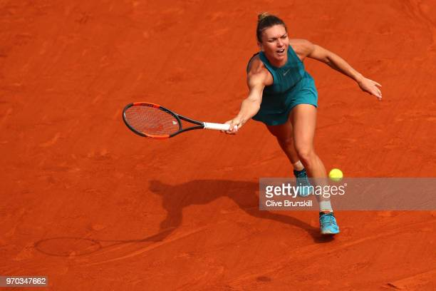 Simona Halep of Romania plays a forehand during the ladies singles final against Sloane Stephens of The United States during day fourteen of the 2018...