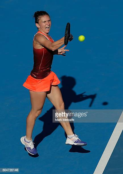 Simona Halep of Romania plays a forehand in her match against Karolina Pliskova of the Czech Republic during day four of the Sydney International at...