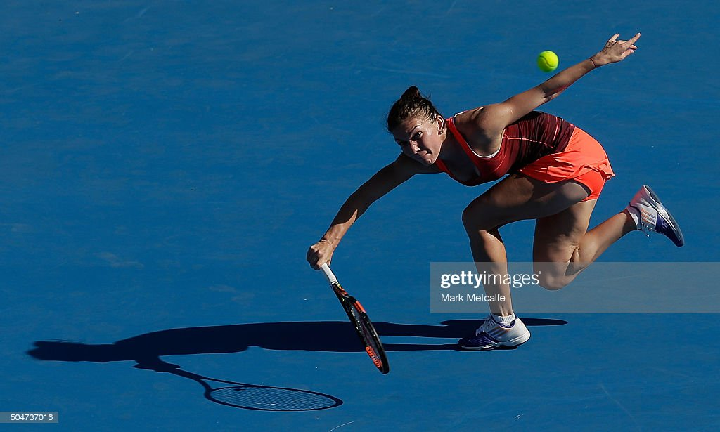 Simona Halep of Romania plays a forehand in her match against Karolina Pliskova of the Czech Republic during day four of the Sydney International at Sydney Olympic Park Tennis Centre on January 13, 2016 in Sydney, Australia.