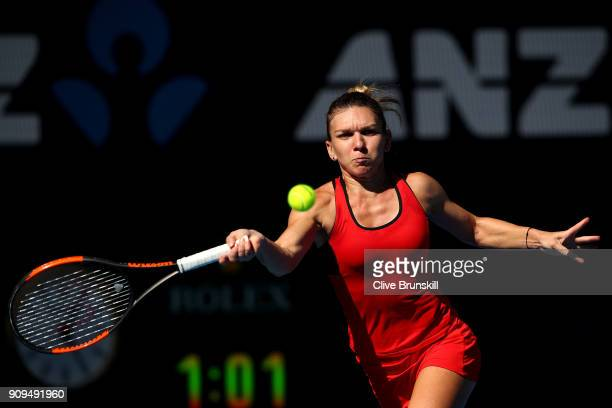 Simona Halep of Romania plays a forehand in her quarterfinal match against Karolina Pliskova of the Czech Republic on day 10 of the 2018 Australian...