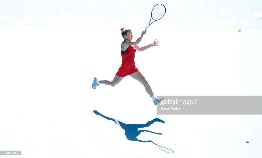 Simona Halep of Romania plays a forehand in her quarter-final match against Karolina Pliskova of the Czech Republic on day 10 of the 2018 Australian Open at Melbourne Park on January 24, 2018 in Melbourne, Australia.