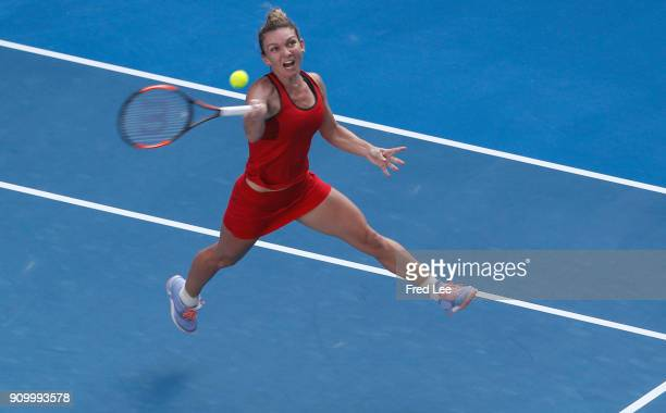 Simona Halep of Romania plays a forehand in her semifinal match against Angelique Kerber of Germany on day 11 of the 2018 Australian Open at...