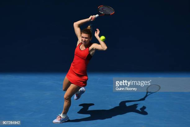 Simona Halep of Romania plays a forehand in her third round match against Lauren Davis of the United States on day six of the 2018 Australian Open at...