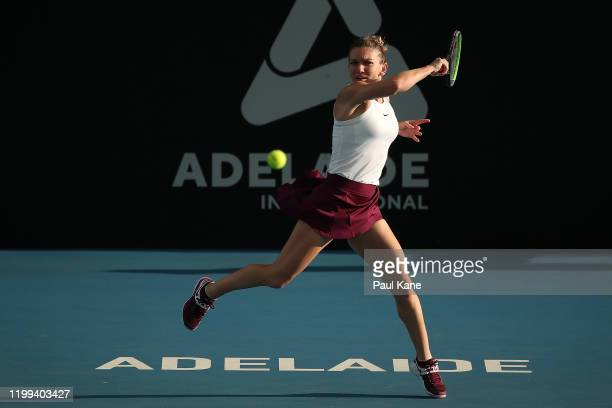 Simona Halep of Romania plays a forehand to Ajla Tomljanovic of Australia during day three of the 2020 Adelaide International at Memorial Drive on...