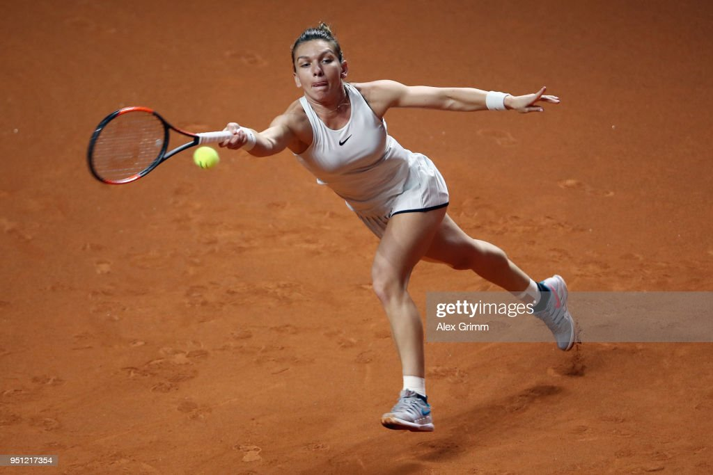 Simona Halep of Romania plays a forehand to Magdalena Rybarikova of Slovakia during day 3 of the Porsche Tennis Grand Prix at Porsche-Arena on April 25, 2018 in Stuttgart, Germany.