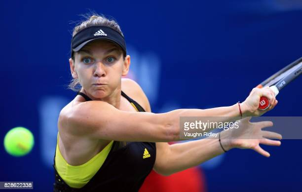 Simona Halep of Romania plays a shot against Magdalena Rybarikova of Slovakia during Day 5 of the Rogers Cup at Aviva Centre on August 9 2017 in...