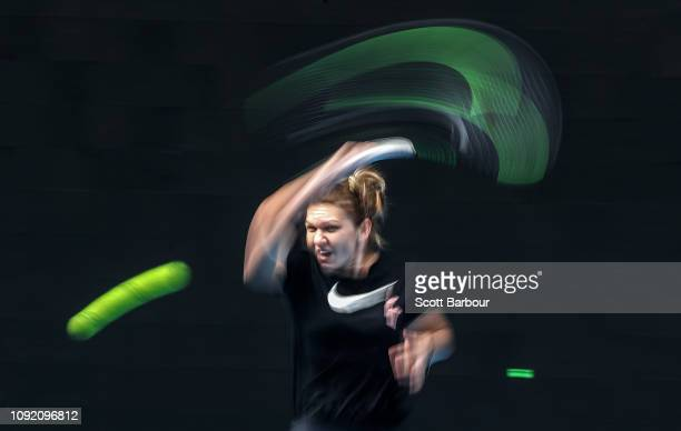 Simona Halep of Romania plays a shot during a practice session ahead of the 2019 Australian Open at Melbourne Park on January 10 2019 in Melbourne...