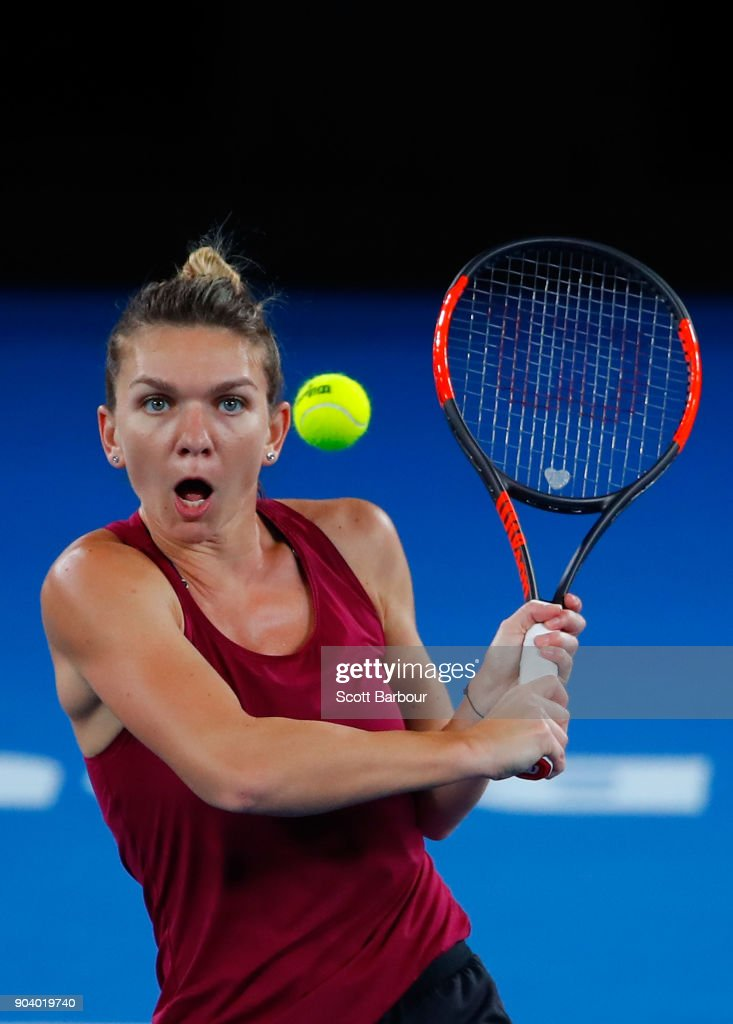 Simona Halep of Romania plays a shot during a practice session ahead of the 2018 Australian Open at Melbourne Park on January 12, 2018 in Melbourne, Australia.