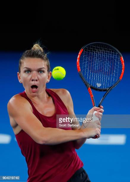 Simona Halep of Romania plays a shot during a practice session ahead of the 2018 Australian Open at Melbourne Park on January 12 2018 in Melbourne...