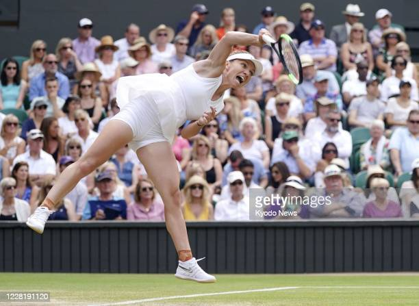 Simona Halep of Romania plays Elina Svitolina of Ukraine in the semifinals at the Wimbledon tennis tournament in London on July 11, 2019.