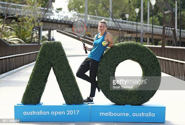 Simona Halep of Romania poses during a photocall at the new entrance to the Australian Open 2017 ahead of the 2017 Australian Open at Melbourne Park...