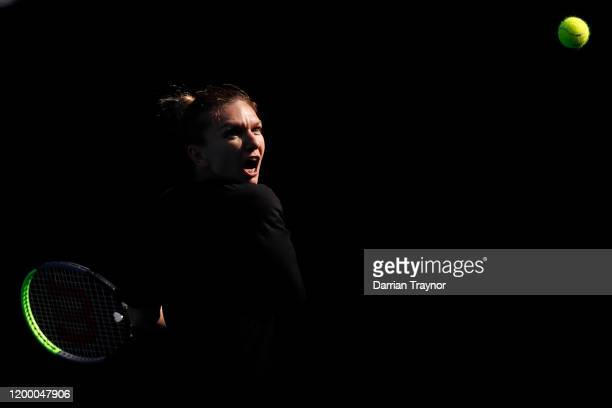 Simona Halep of Romania practices ahead of the 2020 Australian Open at Melbourne Park on January 17, 2020 in Melbourne, Australia.