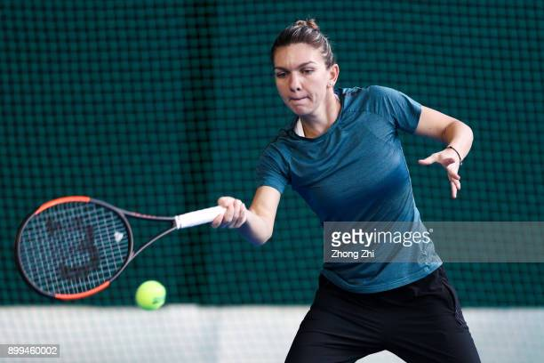 Simona Halep of Romania practices during 2018 WTA Shenzhen Open at Longgang International Tennis Center on December 29 2017 in Shenzhen China
