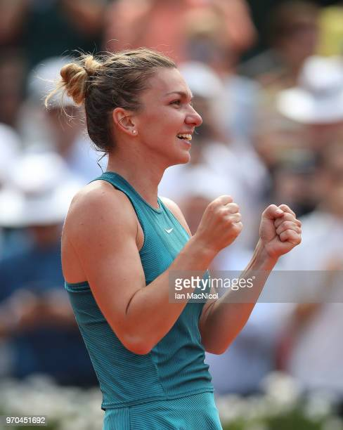 Simona Halep of Romania reacts after she wins her Women's Singles Final match against Sloane Stephens of United States during day fourteen of the...