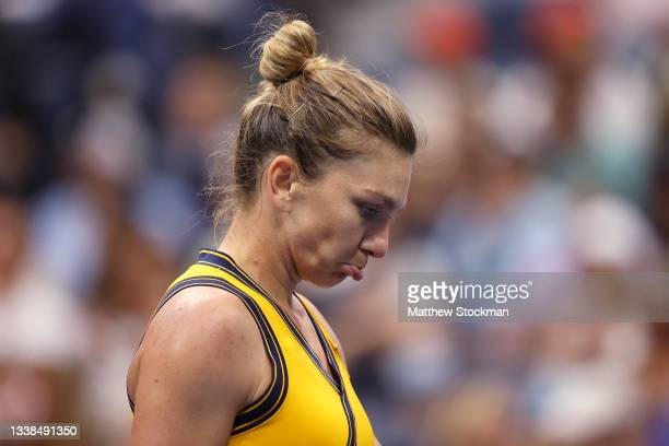 Simona Halep of Romania reacts against Elina Svitolina of Ukraine during her Women's Singles round of 16 match on Day Seven at USTA Billie Jean King...