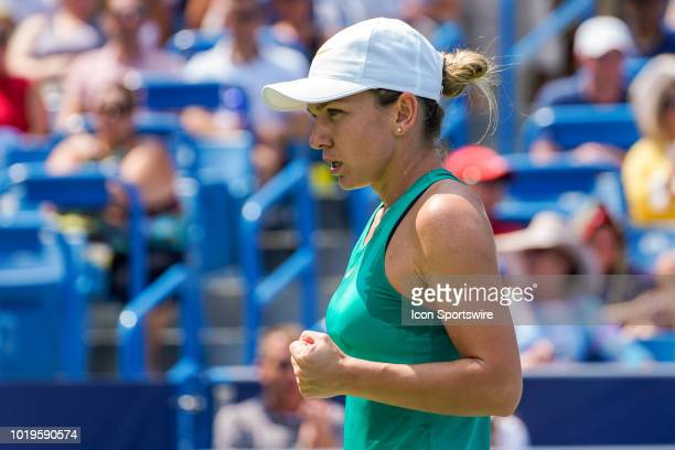Simona Halep of Romania reacts during the Western Southern Open singles final at the Lindner Family Tennis Center in Mason Ohio on August 19 2018