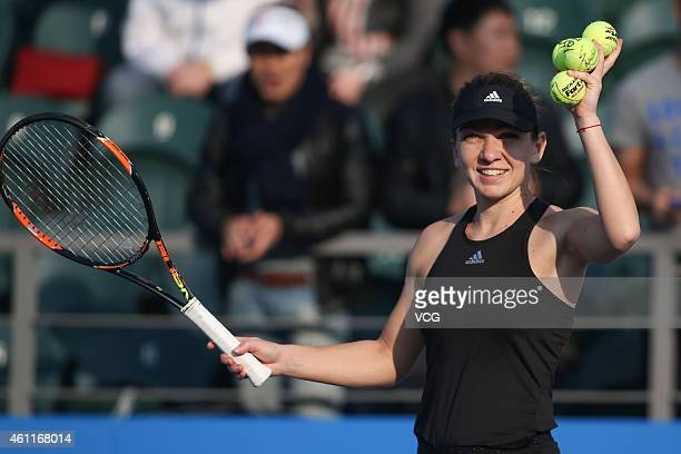 Simona Halep of Romania reacts her match against Aleksandra Krunic of Republic of Serbia on day five of WTA Shenzhen Open at Longgang Sports Center...