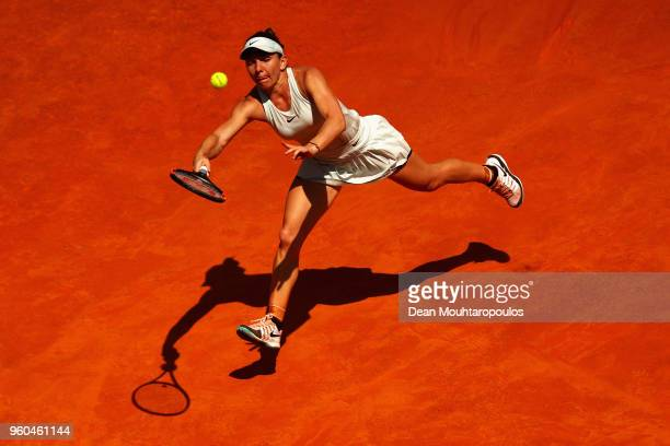 Simona Halep of Romania returns a forehand in her Womens Final match against Elina Svitolina of Ukraine during day 8 of the Internazionali BNL...