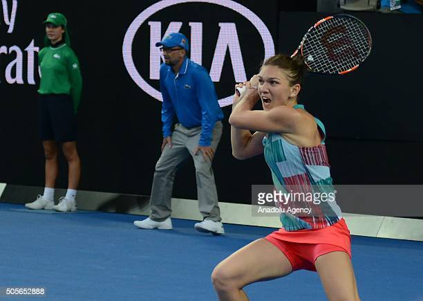 Simona Halep of Romania returns a shot against Shuai Zhang of China during day two of the 2016 Australian Open at Melbourne Park on January 19 2016...
