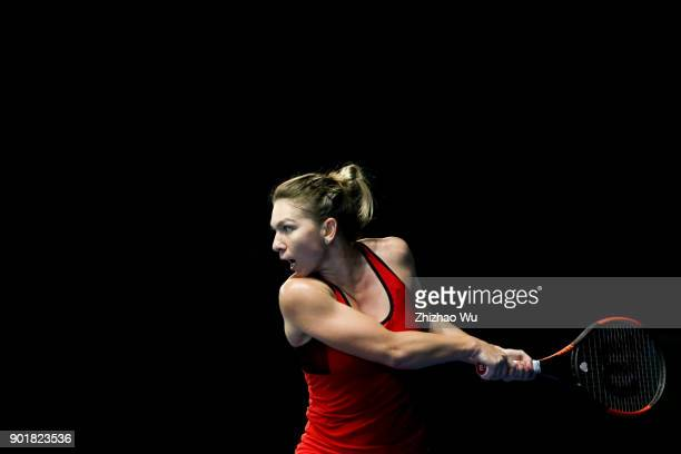 Simona Halep of Romania returns a shot during the final match against Katerina Siniakova of Czech Republic during Day 7 of 2018 WTA Shenzhen Open at...
