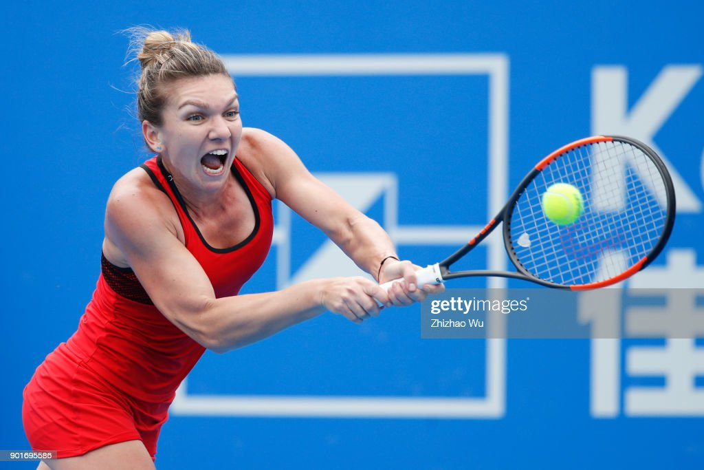 Simona Halep of Romania returns a shot during the semi final match against Irina-Camelia Begu of Romania during Day 6 of 2018 WTA Shenzhen Open at Longgang International Tennis Center on January 5, 2018 in Shenzhen, China.
